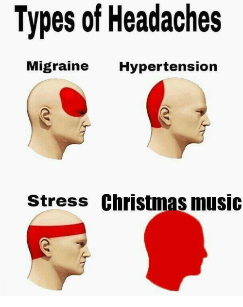 Christmas, Music, and Migraine: Types of Headaches  Migraine Hypertension  stress Christmas music