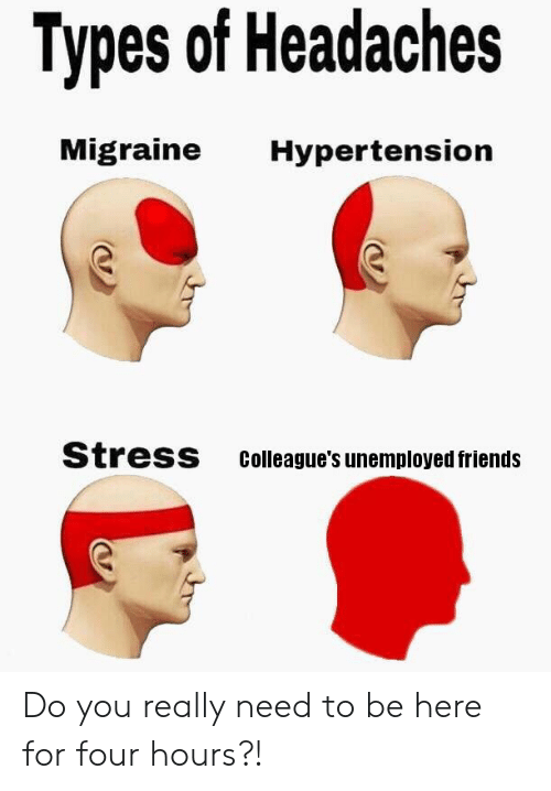 Friends, Reddit, and Migraine: Types of Headaches  Migraine  Hypertension  Stress  Colleague's unemployed friends Do you really need to be here for four hours?!