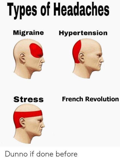 History, Migraine, and Revolution: Types of Headaches  Migraine  Hypertension  Stress  French Revolution Dunno if done before