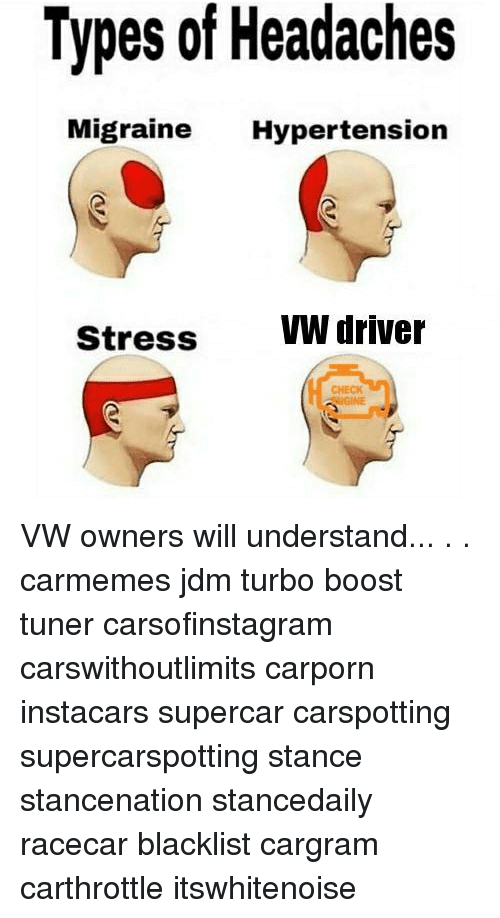 Memes, Boost, and Migraine: Types of Headaches  Migraine Hypertension  Stress VW driver  CHECK VW owners will understand... . . carmemes jdm turbo boost tuner carsofinstagram carswithoutlimits carporn instacars supercar carspotting supercarspotting stance stancenation stancedaily racecar blacklist cargram carthrottle itswhitenoise