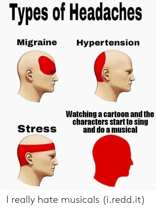 Cartoon, Migraine, and Stress: Types of Headaches  Migraine Hypertension  Watching a cartoon and the  characters start to sing  and do a musical  StresS I really hate musicals (i.redd.it)
