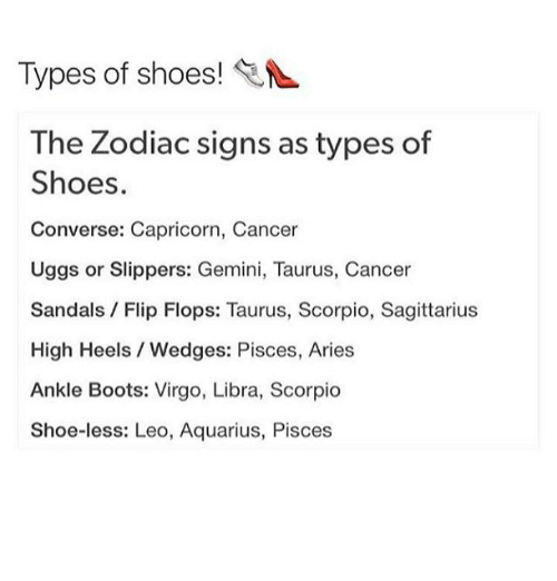 What are the different types of zodiac signs