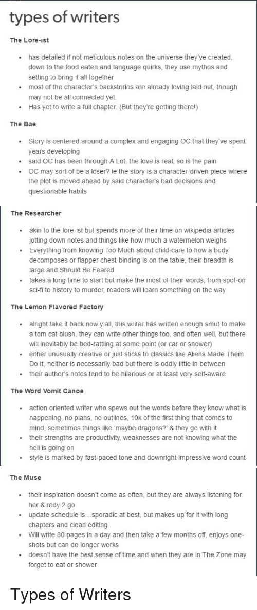 bad bae and complex types of writers the lore ist has detailed