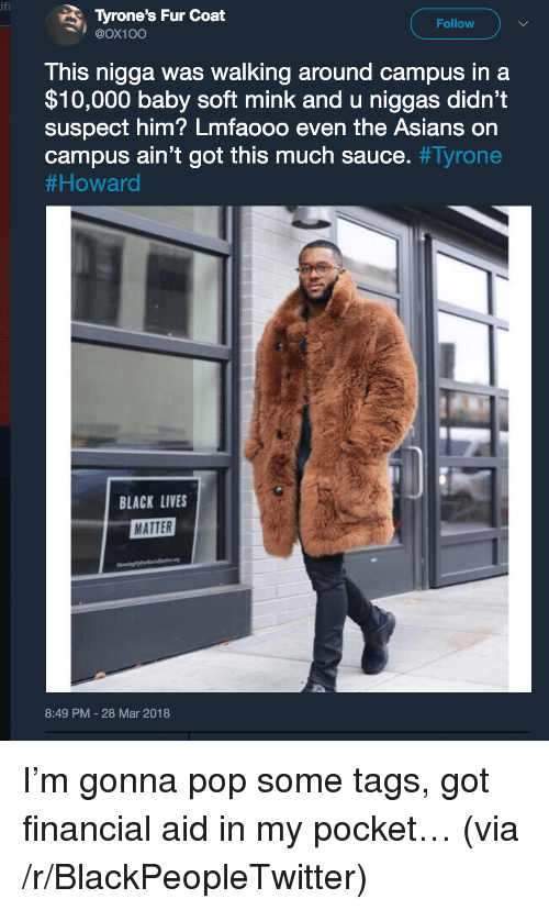 Black Lives Matter, Blackpeopletwitter, and Pop: Tyrone's Fur Coat  @Ox10O  Follow  This nigga was walking around campus in a  $10,000 baby soft mink and u niggas didn't  suspect him? Lmfaooo even the Asians on  campus ain't got this much sauce. #Tyrone  # Howard  BLACK LIVES  MATTER  8:49 PM-28 Mar 2018 <p>I'm gonna pop some tags, got financial aid in my pocket… (via /r/BlackPeopleTwitter)</p>