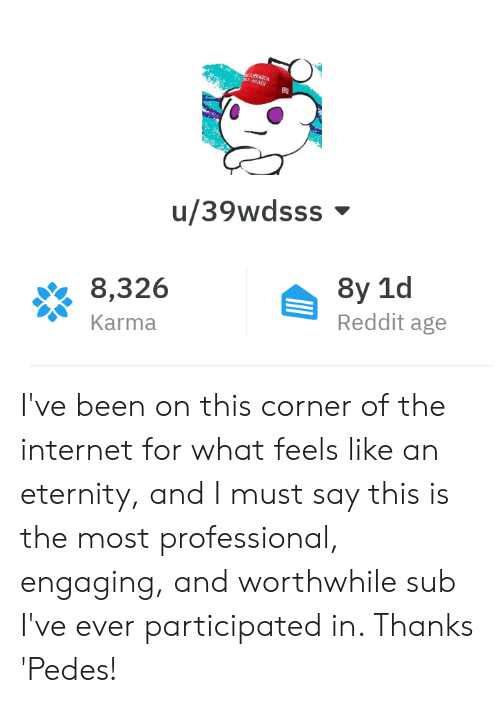 Internet, Reddit, and Karma: u/39wdsss  8,326  Karma  Reddit age I've been on this corner of the internet for what feels like an eternity, and I must say this is the most professional, engaging, and worthwhile sub I've ever participated in. Thanks 'Pedes!