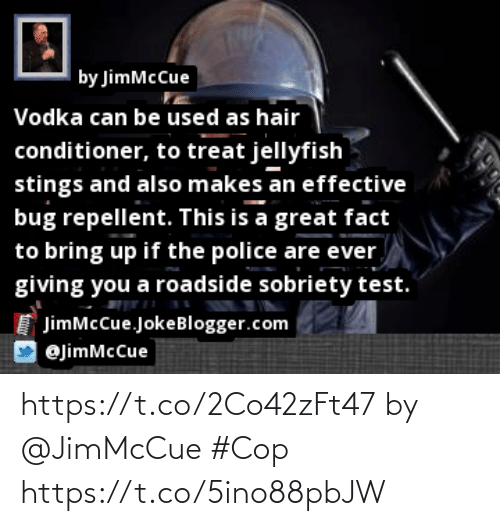 Memes, Police, and Hair: U,  | by JimMcCue  Vodka can be used as hair  conditioner, to treat jellyfish  stings and also makes an effective  bug repellent. This is a great fact  to bring up if the police are ever  giving you a roadside sobriety test.  JimMcCue.JokeBlogger.com  @jimMcCue  tnttenr https://t.co/2Co42zFt47 by @JimMcCue #Cop https://t.co/5ino88pbJW