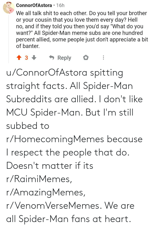 Facts, Respect, and Spider: u/ConnorOfAstora spitting straight facts. All Spider-Man Subreddits are allied. I don't like MCU Spider-Man. But I'm still subbed to r/HomecomingMemes because I respect the people that do. Doesn't matter if its r/RaimiMemes, r/AmazingMemes, r/VenomVerseMemes. We are all Spider-Man fans at heart.