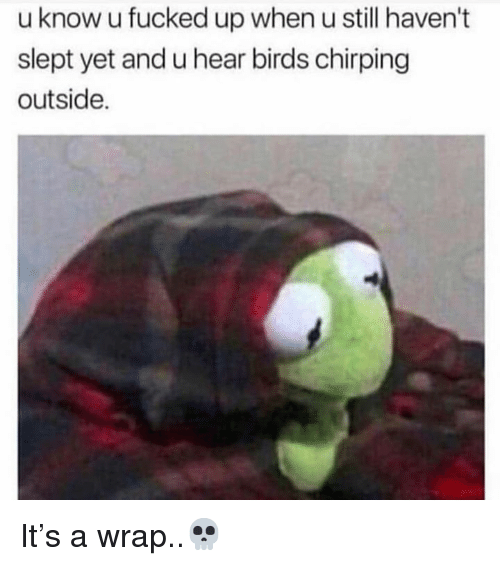 Birds, Hood, and Still: u know u fucked up when u still haven't  slept yet and u hear birds chirping  outside. It's a wrap..💀