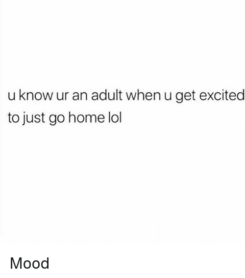 Lol, Memes, and Mood: u know ur an adult when u get excited  to just go home lol Mood