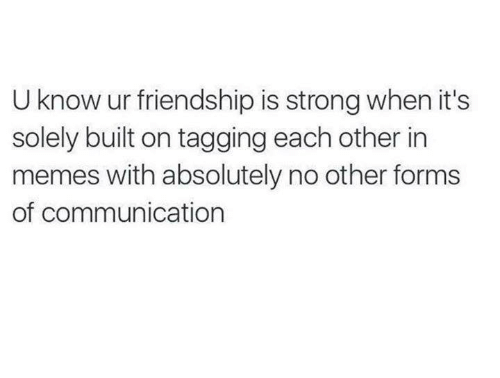 Memes, Humans of Tumblr, and Strong: U know ur friendship is strong when it's  solely built on tagging each other in  memes with absolutely no other forms  of communication