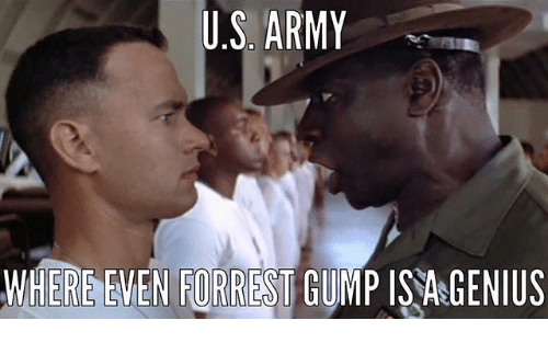 Forrest Gump, Memes, and Army: U.S. ARMY  WHERE EMEN FORREST GUMP 15%GENIUS