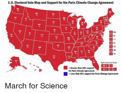 Paris Georgia Map.Us Electoral Vote Map And Support For The Paris Climate Change