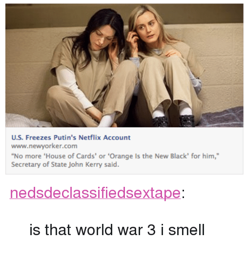 """Netflix, Smell, and Target: U.S. Freezes Putin's Netflix Account  www.newyorker.com  No more 'House of Cards' or 'Orange Is the New Black' for him,""""  Secretary of State John Kerry said. <p><a class=""""tumblr_blog"""" href=""""http://nedsdeclassifiedsextape.tumblr.com/post/80103115991/is-that-world-war-3-i-smell"""" target=""""_blank"""">nedsdeclassifiedsextape</a>:</p> <blockquote> <p>is that world war 3 i smell</p> </blockquote>"""