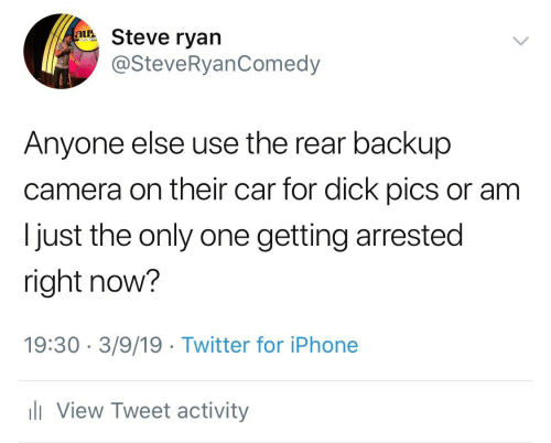 Dick Pics, Iphone, and Twitter: u Steve ryan  @SteveRyanComedy  Anyone else use the rear backup  camera on their car for dick pics or am  Ijust the only one getting arrested  right now?  19:30 3/9/19 Twitter for iPhone  View Tweet activity