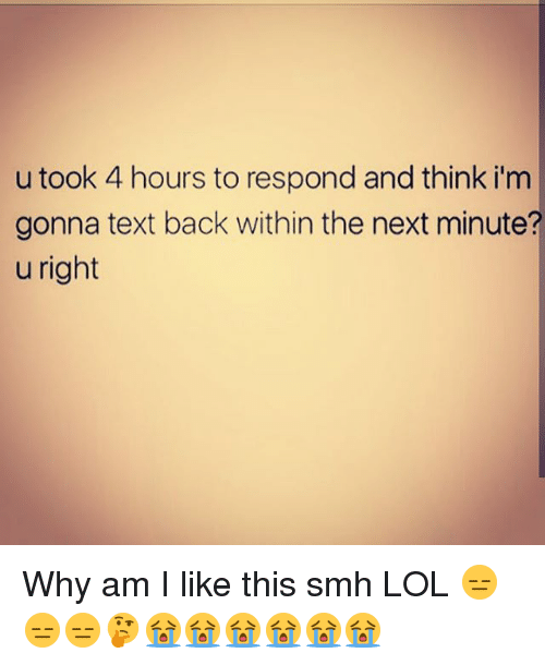 Memes, Smh, and Text Back: u took 4 hours to respond and think i'm  gonna text back within the next minute?  u right Why am I like this smh LOL 😑😑😑🤔😭😭😭😭😭😭