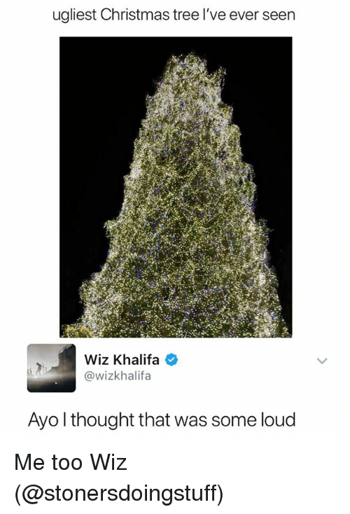Christmas, Wiz Khalifa, and Christmas Tree: ualiest Christmas tree l've ever seen  Wiz Khalifa  @wizkhalifa  Avo l thought that was some loud Me too Wiz (@stonersdoingstuff)