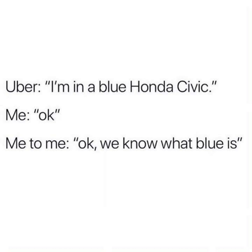 "Funny, Honda, and Tumblr: Uber: ""I'm in a blue Honda Civic.""  Me: ""ok""  Me to me: ""ok, we know what blue is"""
