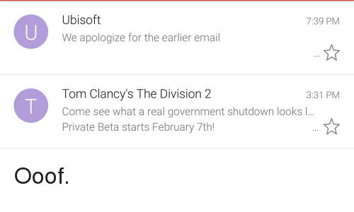 Ubisoft We Apologize for the Earlier Email 739 PM Tom Clancy's the