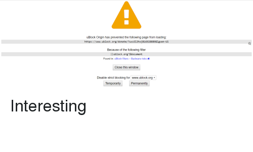 uBlock Origin Has Prevented the Following Page From Loading
