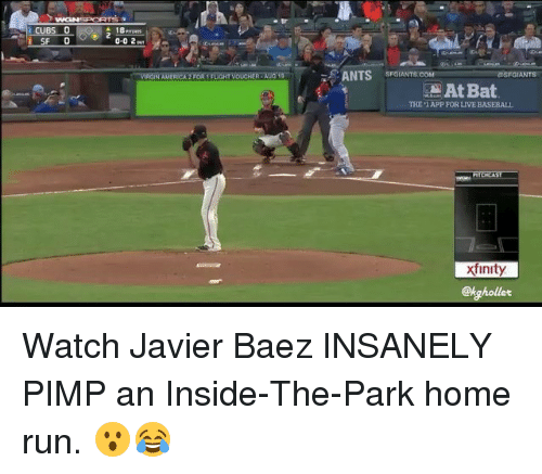 Baseball, Mlb, and Run: UBS  GIN AME  SANTS SFGUANTS.COM  GIANTS  At Bat  THE 1 APP FOR LIVE BASEBALL  xfinity  @kghollet Watch Javier Baez INSANELY PIMP an Inside-The-Park home run. 😮😂