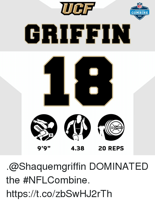 UCF GRIFFIN NFL SCoUTING COMBINE 2018 225 LBS 3 9'9 L099 438