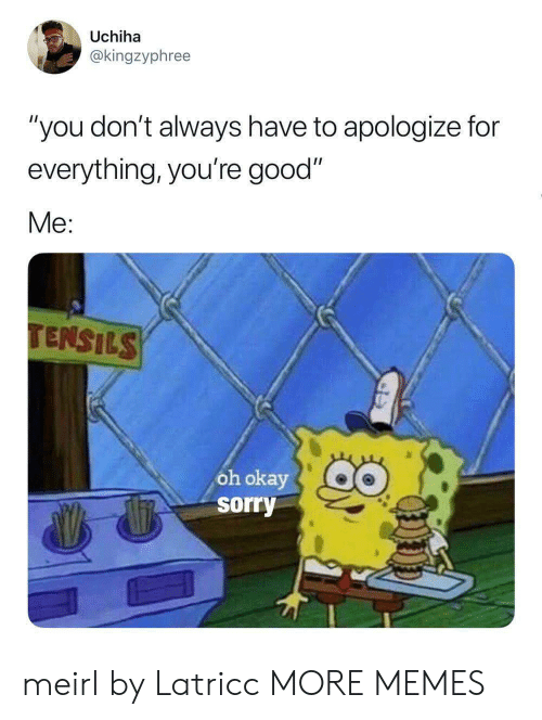 """Dank, Memes, and Sorry: Uchiha  @kingzyphree  """"you don't always have to apologize for  everything, you're good""""  Me:  TENSILS  ôh okay  sorry meirl by Latricc MORE MEMES"""