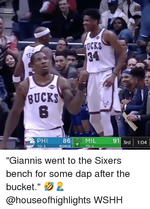 """Memes, Wshh, and Sixers: UCKS  BUCKS  8  86  BONUS  MIL  TO: 3  91 3rd 1:04  PHI  TO: 3 """"Giannis went to the Sixers bench for some dap after the bucket."""" 🤣🤦♂️ @houseofhighlights WSHH"""