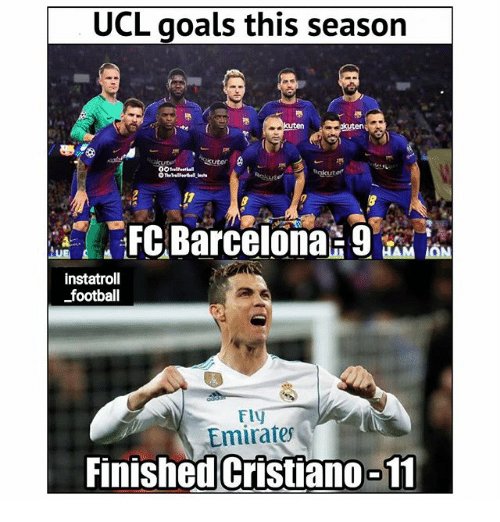 Football, Goals, and Memes: UCL goals this season  kuten  instatroll  football  Fl  Emirates  Finished Cristian0-11
