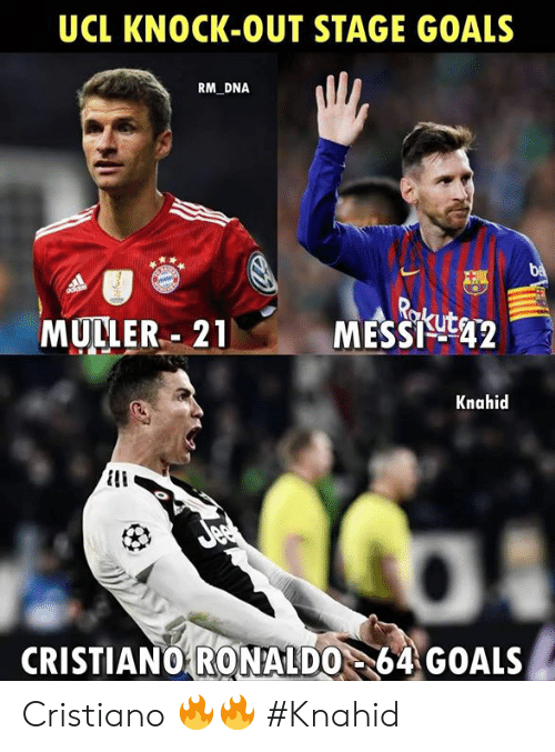 Goals, Memes, and Ronaldo: UCL KNOCK-OUT STAGE GOALS  RM DNA  MULLER.. 21  MESSigt42  Knahid  CRISTIANO64 GOALS  RONALDO Cristiano 🔥🔥  #Knahid