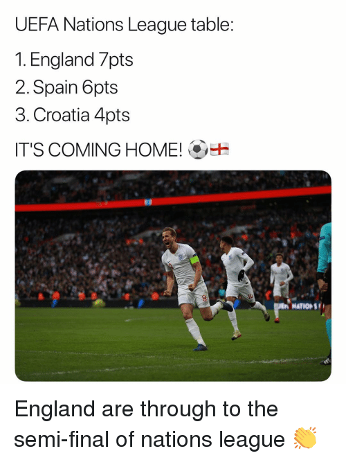 England, Memes, and Croatia: UEFA Nations League table  1. England 7pts  2. Spain 6pts  3. Croatia 4pts  IT'S COMING HOME!  A NATIONS England are through to the semi-final of nations league 👏