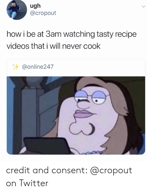 Twitter, Videos, and Never: ugh  @cropout  how i be at 3am watching tasty recipe  videos that i will never cook  @online247 credit and consent: @cropout on Twitter