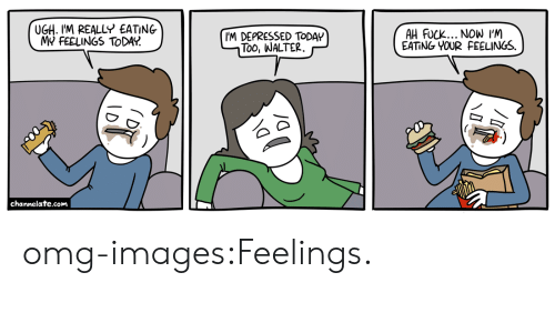 Omg, Tumblr, and Blog: UGH. I'M REALLY EATING  MY FEELINGS TODA?  IM DEPRESSED TODAY  Too, WALTER.  AH FUCK... NOW I'M  EATING YOUR FEELINGS.  channelate.com omg-images:Feelings.