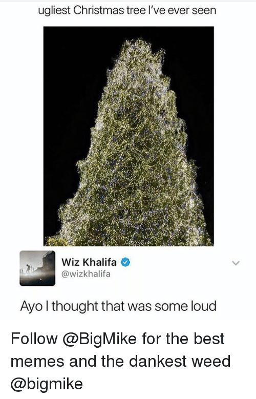 Christmas, Memes, and Weed: ugliest Christmas tree l've ever seen  Wiz Khalifa e  @wizkhalifa  Ayo l thought that was some loud Follow @BigMike for the best memes and the dankest weed @bigmike