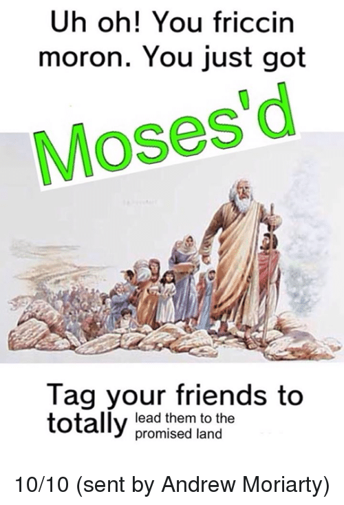 Friends, Dank Memes, and Moses: Uh oh! You friccin  moron. You just got  Moses d  Tag your friends to  totally  lead them to the  promised land 10/10 (sent by Andrew Moriarty)