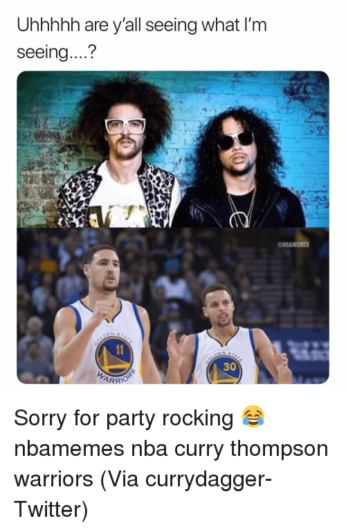 """Basketball, Nba, and Party: Uhhhhh are y'all seeing what I'm  seeing....""""?  ONBAMEMES  30  ARRIO Sorry for party rocking 😂 nbamemes nba curry thompson warriors (Via currydagger-Twitter)"""
