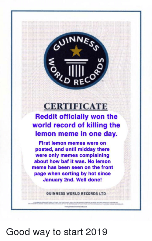 UINNE 2 RECO CERTIFICATE Reddit Officially Won the World Record of