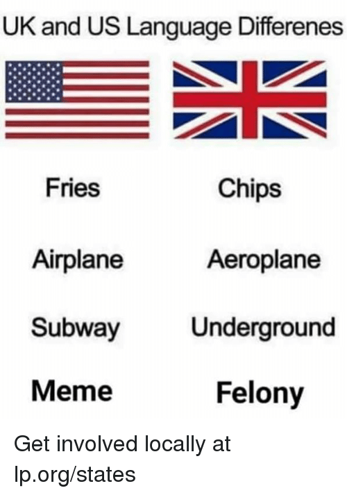 Meme, Memes, and Subway: UK and US Language Differenes  Fries  Airplane  Subway  Meme  Chips  Aeroplane  Underground  Felony Get involved locally at lp.org/states