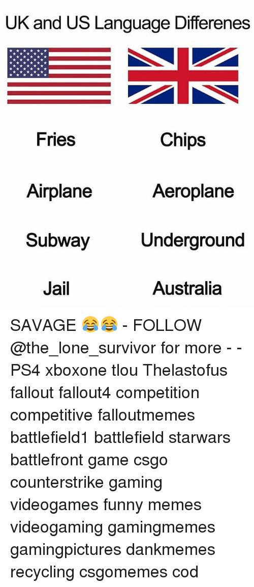 Funny, Jail, and Memes: UK and US Language Differenes  Fries  Chips  Aeroplane  Airplane  Subway  Jail  Underground  Australia SAVAGE 😂😂 - FOLLOW @the_lone_survivor for more - - PS4 xboxone tlou Thelastofus fallout fallout4 competition competitive falloutmemes battlefield1 battlefield starwars battlefront game csgo counterstrike gaming videogames funny memes videogaming gamingmemes gamingpictures dankmemes recycling csgomemes cod