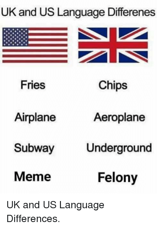 Meme, Subway, and Airplane: UK and US Language Differenes  Fries  Chips  Aeroplane  Airplane  Subway  Meme  Underground  Felony UK and US Language Differences.