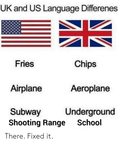 UK and US Language Differenes Fries Chips Airplane Aeroplane
