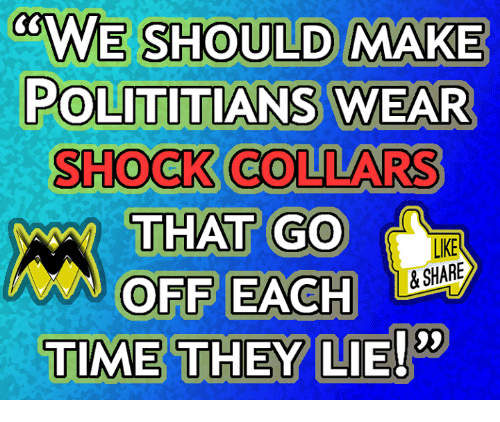 Memes, Time, and 🤖: ULD MAKE  POLITITIANS WEAR  SHOCK COLLARS  THAT GO  OFF EACH  TIME THEY LIE!  LIKE  &SHARE