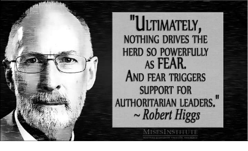 Memes, Fear, and 🤖: ULTIMATELY,  NOTHING DRIVES THE  HERD SO POWERFULLY  AS FEAR  AND FEAR TRIGGERS  SUPPORT FOR  AUTHORITARIAN LEADERS.  ~Robert Higgs  MISES INSTITUTE