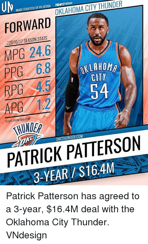Memes, Nba, and Oklahoma City Thunder: UM  FORWARD  IMAGE COURTESY OF VN DESIGN  foy@VNDSGN  2  2016/17 SEASON STATS  MPG 24.6  PPG 6.8  RPC 45  OKLAHOM  CITP  APG 12,  54  STATS FROM NBA.COM  THUNDER  OKCTHUNDER.COM  PATRICK PATTERSON  3-YEAR /S16.4M Patrick Patterson has agreed to a 3-year, $16.4M deal with the Oklahoma City Thunder. VNdesign