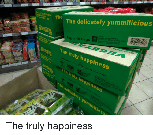 "Happiness, Engrish, and Yum: um Yum Instant noodle  The delicately yummilicious  egetable lavou  Heuschen&Schrouff OFT B.V  8 852018 ""280088  60g x 10 Bags  The truly happiness  icio"