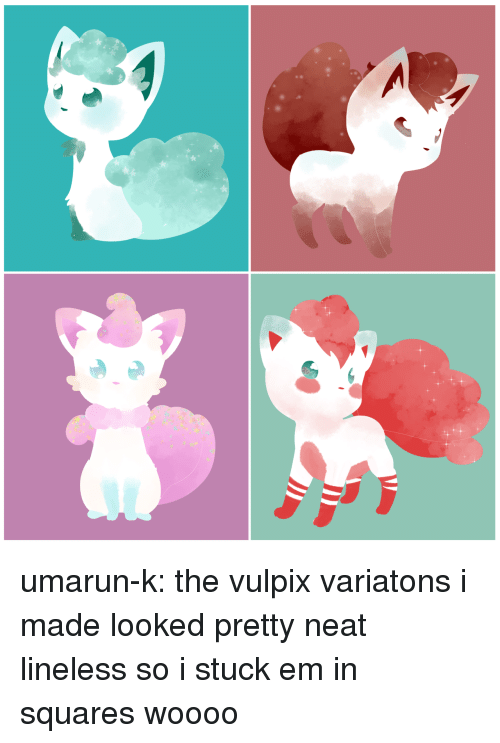 Meme, Tumblr, and Blog: umarun-k: the vulpix variatons i made looked pretty neat lineless so i stuck em in squares woooo