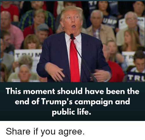 Life, Been, and Public: UMP  TR  This moment should have been the  end of Trump's campaign and  public life. Share if you agree.