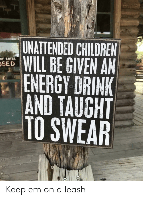 Children, Energy, and Will: UNATTENDED CHILDREN  WILL BE GIVEN AN  ENERGY DRINK  AND TAUGHT  TO SWEAR  OT ENTER  SE D Keep em on a leash