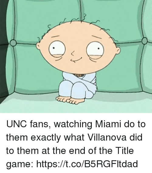 Sports, Game, and Villanova: UNC fans, watching Miami do to them exactly what Villanova did to them at the end of the Title game: https://t.co/B5RGFltdad