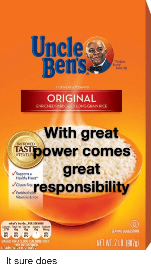 "Omg, Reddit, and Free: Uncle  Ben's  Perfect  Every  Time""  ERTED BRAND  ORIGINAL  ENRICHED PARBOILED LONG GRAIN RICE  With great  IMPROVED  TASTpower comes  &TEXTUR  great  Healthy Heart  Gluten Free  Enriched  dresponsibility  Vitamins& Iron  what's inside...PER SERVING  Calories Total Fat Sat Fa  170 09 0g  Sodium  omg  SERVING SUGGESTION  0%0%*0%  DV DV  BASED ON A 2,000 CALORIE DIET  made with mematic  NET WT. 2B.(907)  OV DEFINED"