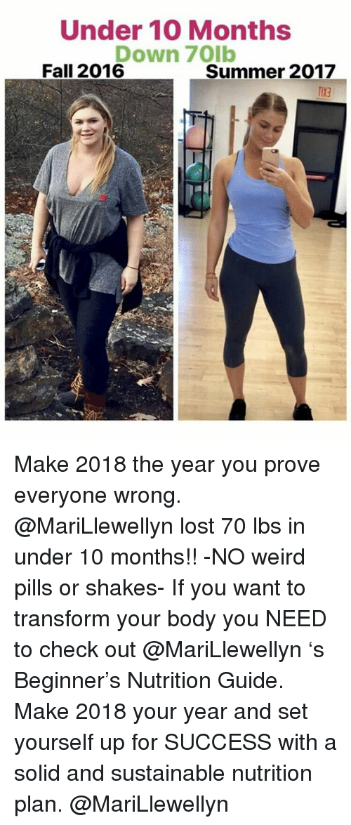 Fall, Memes, and Weird: Under 10 Months  Down 70lb  Fall 2016  Summer 2017  TIXa Make 2018 the year you prove everyone wrong. @MariLlewellyn lost 70 lbs in under 10 months!! -NO weird pills or shakes- If you want to transform your body you NEED to check out @MariLlewellyn 's Beginner's Nutrition Guide. Make 2018 your year and set yourself up for SUCCESS with a solid and sustainable nutrition plan. @MariLlewellyn